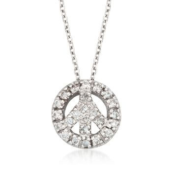 "Roberto Coin ""Tiny Treasures"" .11 ct. t.w. Peace Sign Diamond Necklace in 18kt White Gold, , default"