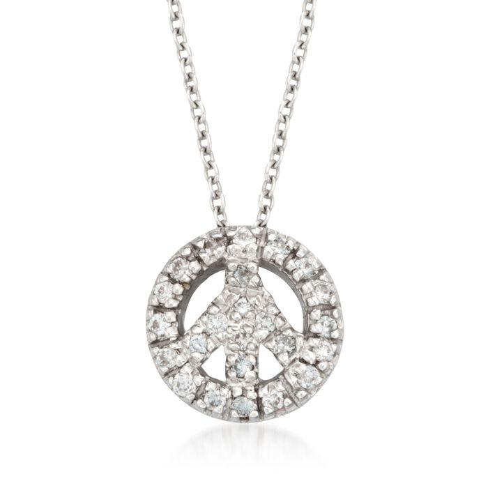 """Roberto Coin """"Tiny Treasures"""" .11 ct. t.w. Peace Sign Diamond Necklace in 18kt White Gold, , default"""
