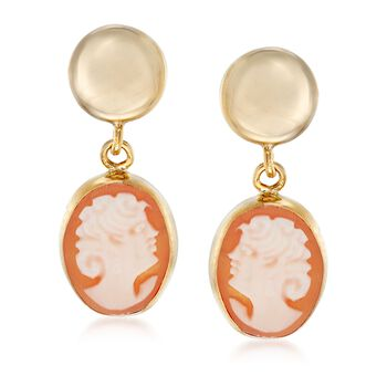 Shell Cameo Drop Earrings in 14kt Yellow Gold, , default