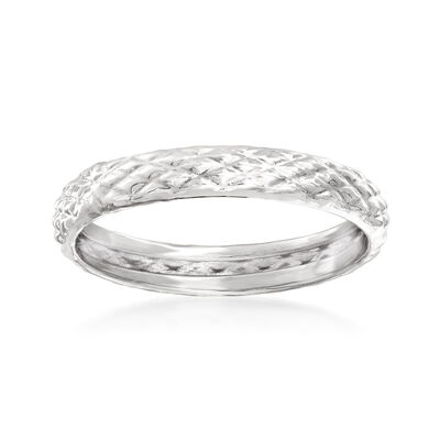 18kt White Gold Quilted Textured Ring, , default