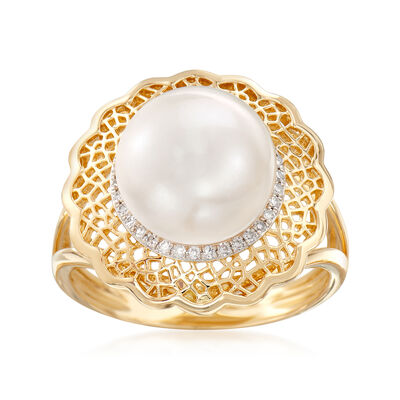 10-10.5mm Cultured Pearl Ring with .10 ct. t.w. Diamonds and Filigree in 14kt Yellow Gold, , default