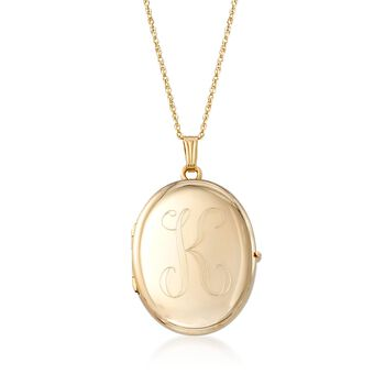 14kt Yellow Gold Personalized Oval Locket Necklace, , default