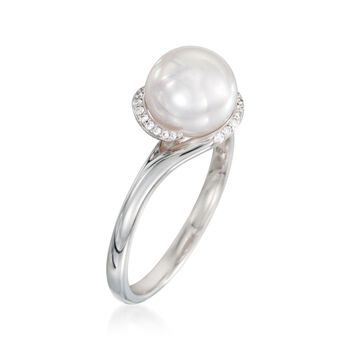 Mikimoto 8mm Akoya Pearl Ring With Diamonds in 18kt White Gold. Size 7, , default