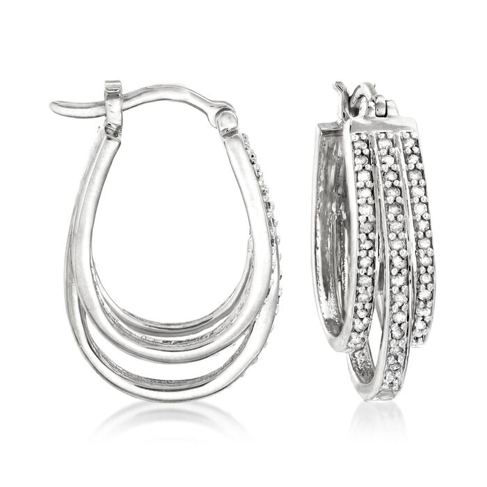 ".50 ct. t.w. Diamond Three-Row Hoop Earrings in Sterling Silver. 1"""
