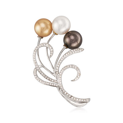 C. 1980 Vintage 11mm Multicolored South Sea Pearl and .70 ct. t.w. Diamond Pin in 18kt White Gold, , default