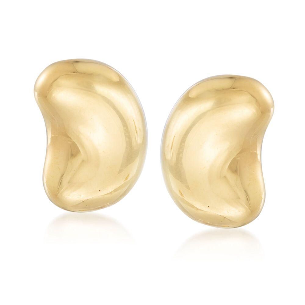 """550134dfd C. 2000 Vintage Tiffany Jewelry """"Elsa Peretti"""" 18kt Yellow Gold  Bean Clip"""