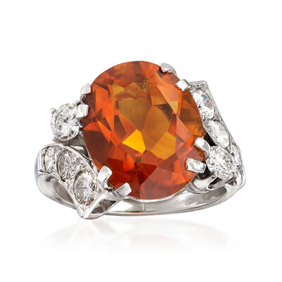 C. 1970 Vintage 6.48 Carat Citrine and 1.00 ct. t.w. Diamond Cocktail Ring in 14kt White Gold, , default