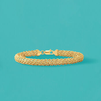 14kt Yellow Gold Braided Rope Bracelet, , default