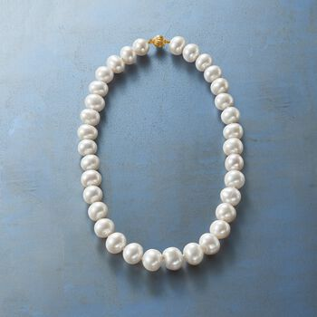 13-15mm Cultured Pearl Necklace with 14kt Yellow Gold