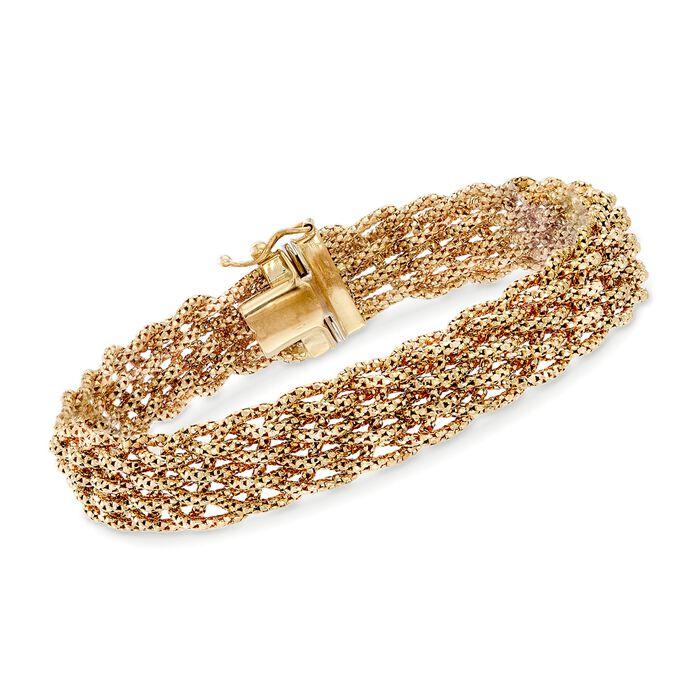 "Italian 14kt Yellow Gold Braided Chain Bracelet. 8"", , default"