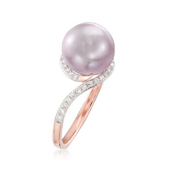 9.5mm Pink Cultured Pearl and .20 ct. t.w. Diamond Ring in 14kt Rose Gold, , default