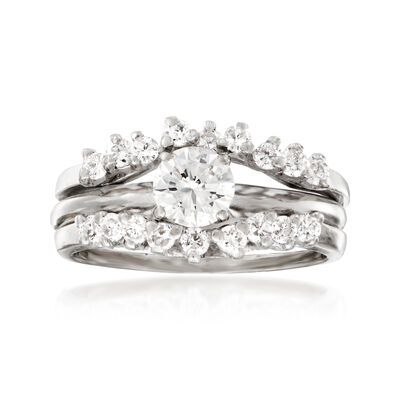 C. 1990 Vintage 1.00 ct. t.w. Diamond Bridal Set: Engagement and Wedding Rings in 14kt White Gold, , default