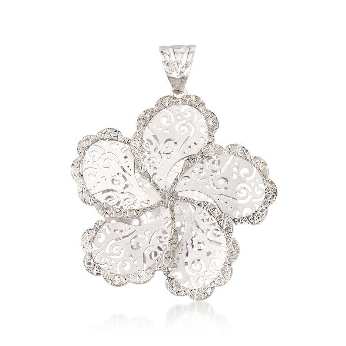 Italian Sterling Silver Diamond-Cut Swirl Flower Pendant, , default