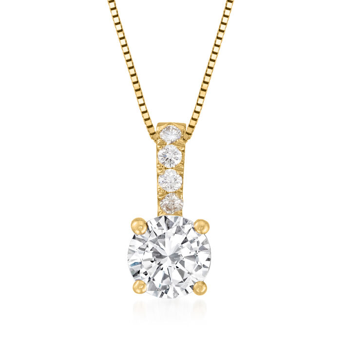 1.00 Carat Diamond Pendant Necklace with .05 ct. t.w. Diamond Bale in 14kt Yellow Gold