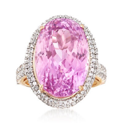 20.00 Carat Kunzite and 1.70 ct. t.w. White Zircon Ring in 14kt Yellow Gold, , default