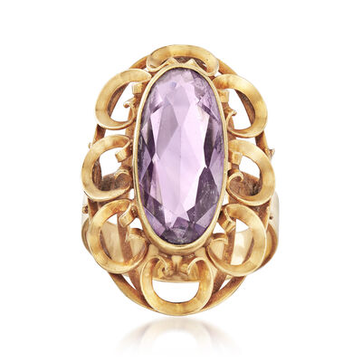 C. 1960 Vintage 3.30 ct. t.w. Amethyst Ring in 14kt Yellow Gold, , default