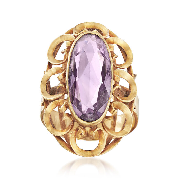 C. 1960 Vintage 3.30 ct. t.w. Amethyst Ring in 14kt Yellow Gold. Size 6.5, , default