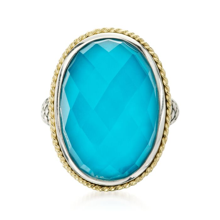 Andrea Candela Turquoise Doublet Ring in 18kt Yellow Gold and Sterling Silver