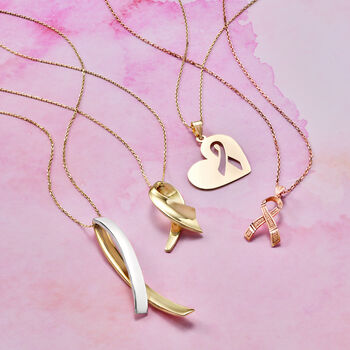 """14kt Yellow Gold Breast Cancer Awareness Heart Charm Necklace. 18"""", , default"""