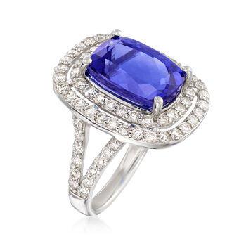 7.50 Carat Tanzanite and 1.60 ct. t.w. Diamond Ring in 14kt White Gold