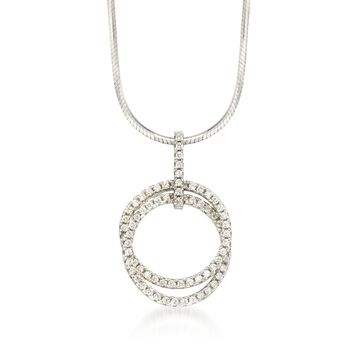 1.10 ct. t.w. CZ Double Circle Pendant in Sterling Silver, , default