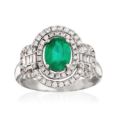1.00 Carat Emerald and .76 ct. t.w. Diamond Ring in 18kt White Gold, , default