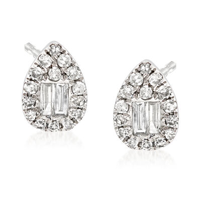 .30 ct. t.w. Baguette and Round Diamond Teardrop Earrings in 18kt White Gold