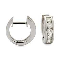 ".75 ct. t.w. Diamond Hoop Earrings in 14kt White Gold. 3/8"", , default"