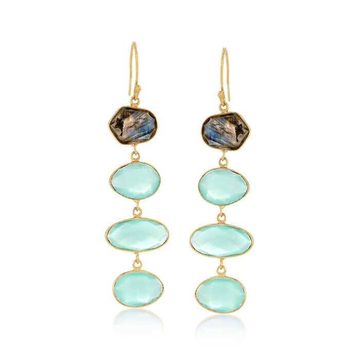 Blue Chalcedony and Labradorite Linear Earrings in 18kt Gold Over Sterling, , default