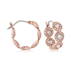 """Swarovski Crystal """"Angelic"""" Multi-Circle Hoop Earrings in Rose Gold-Plated Metal, , default"""