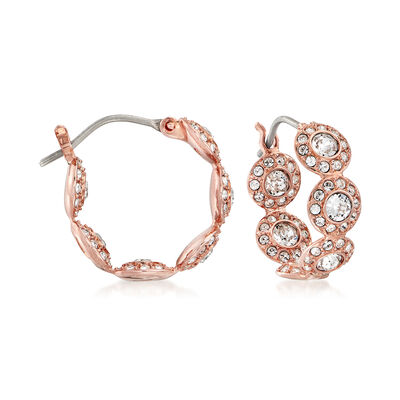 "Swarovski Crystal ""Angelic"" Multi-Circle Hoop Earrings in Rose Gold-Plated Metal, , default"