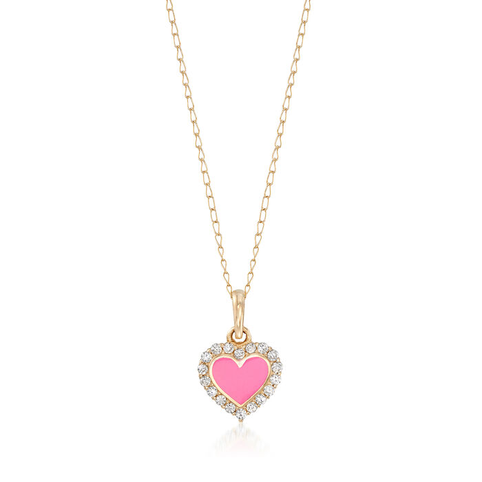 Child's Pink Enamel Heart Pendant Necklace with CZ Accents in 14kt Yellow Gold. 15""