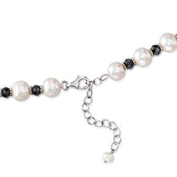 "8-9mm Cultured Pearl and 25.00 ct. t.w. Black Spinel Bead Necklace with Sterling Silver. 18"", , default"