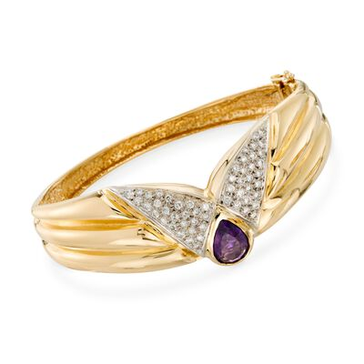 C. 1980 Vintage 2.50 Carat Amethyst and 1.15 ct. t.w. Diamond Bangle Bracelet in 14kt Yellow Gold, , default