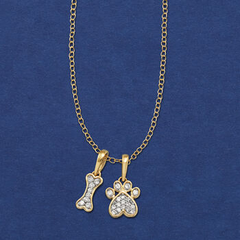.10 ct. t.w. Diamond Dog Bone and Paw Pendant Necklace in 14kt Yellow Gold