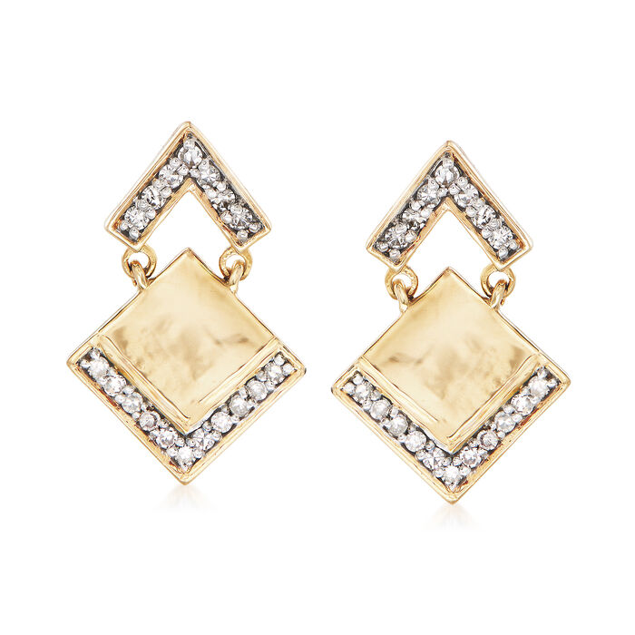 .25 ct. t.w. Pave Diamond Arrow Drop Earrings in 14kt Yellow Gold