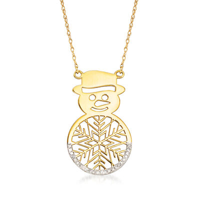 Diamond-Accented Snowman Necklace in 14kt Yellow Gold
