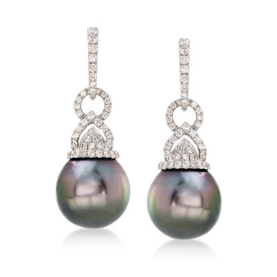 13mm Black Cultured South Sea Pearl and .83 ct. t.w. Diamond Drop Earrings in 18kt White Gold, , default