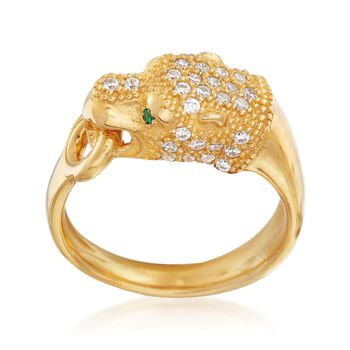 Italian .40 ct. t.w. CZ Panther Head Ring With Simulated Emeralds in 18kt Gold Over Sterling, , default