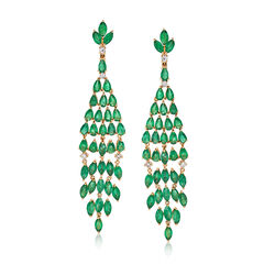 14 ct. t.w. Emerald and .40 ct. t.w. Diamond Chandelier Earrings in 18kt Yellow Gold, , default