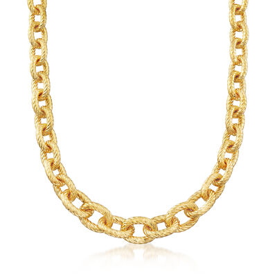 Italian Andiamo Graduated Rolo-Link Necklace in 14kt Yellow Gold, , default