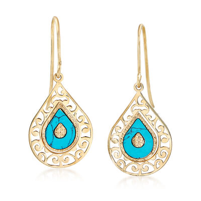 Italian Simulated Turquoise Drop Earrings in 14kt Yellow Gold, , default