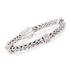 "Phillip Gavriel ""Woven"" .70 ct. t.w. White Sapphire Station Link Bracelet in Sterling Silver, , default"