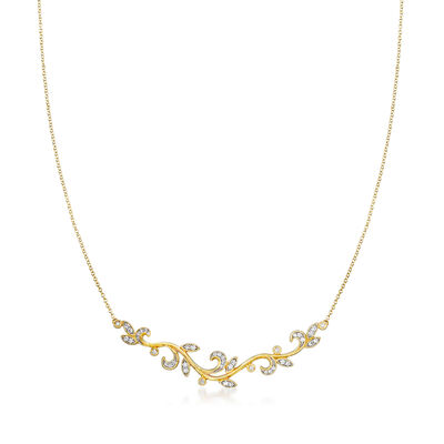 Gabriel Designs .35 ct. t.w. Diamond Leaf Necklace in 14kt Yellow Gold, , default