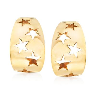 Italian 14kt Yellow Gold Cut-Out Star Earrings, , default