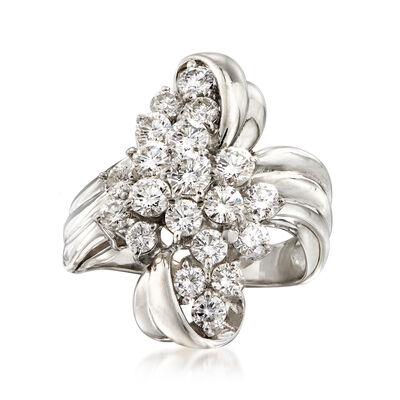 C. 1980 Vintage 2.00 ct. t.w. Diamond Bow Ring in Platinum, , default