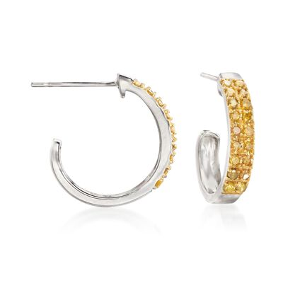 .25 ct. t.w. Yellow Diamond J-Hoop Earrings in Sterling Silver, , default