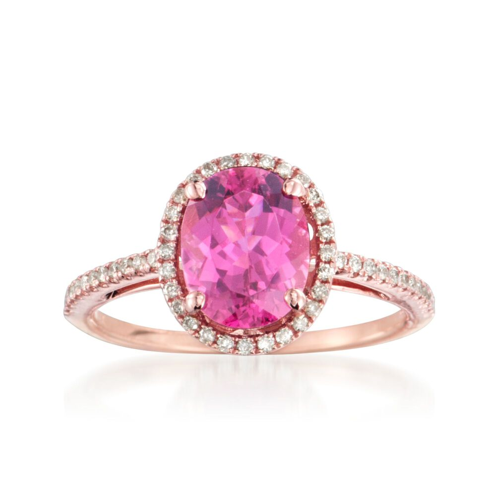 1.95 Carat Pink Tourmaline and .20 ct. t.w. Diamond Ring in 14kt ...