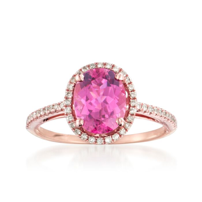 1.95 Carat Pink Tourmaline and .20 ct. t.w. Diamond Ring in 14kt Rose Gold, , default