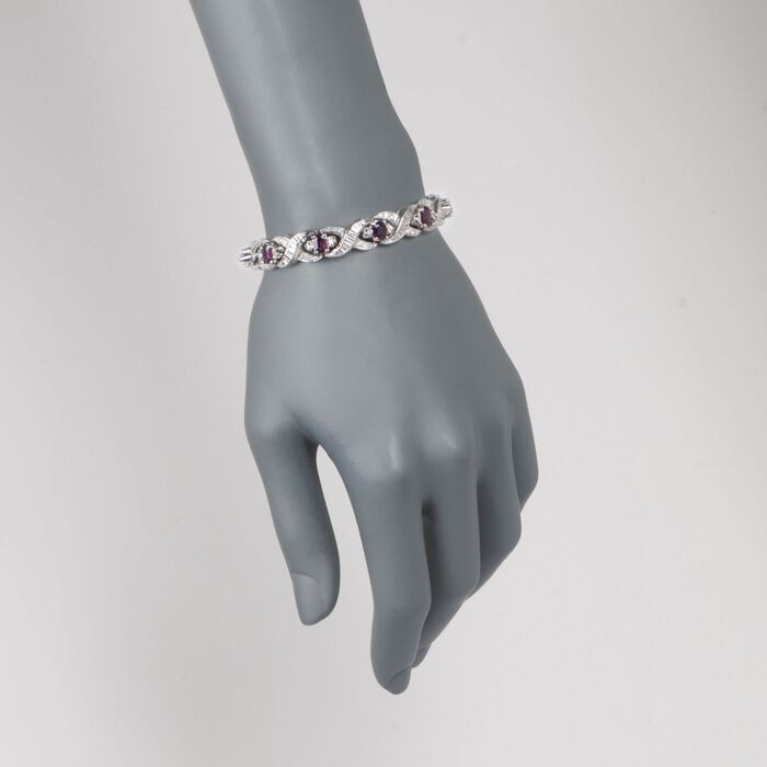 "C. 1980 Vintage 8.00 ct. t.w. Ruby and 2.90 ct. t.w. Diamond Bracelet in 14kt White Gold. 7"", , default"